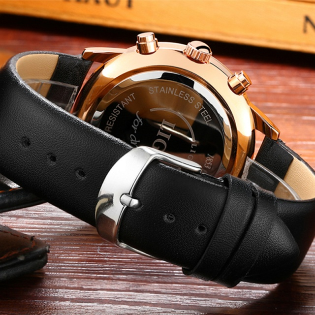Chronograp Clock Man Leather Business WristWatch