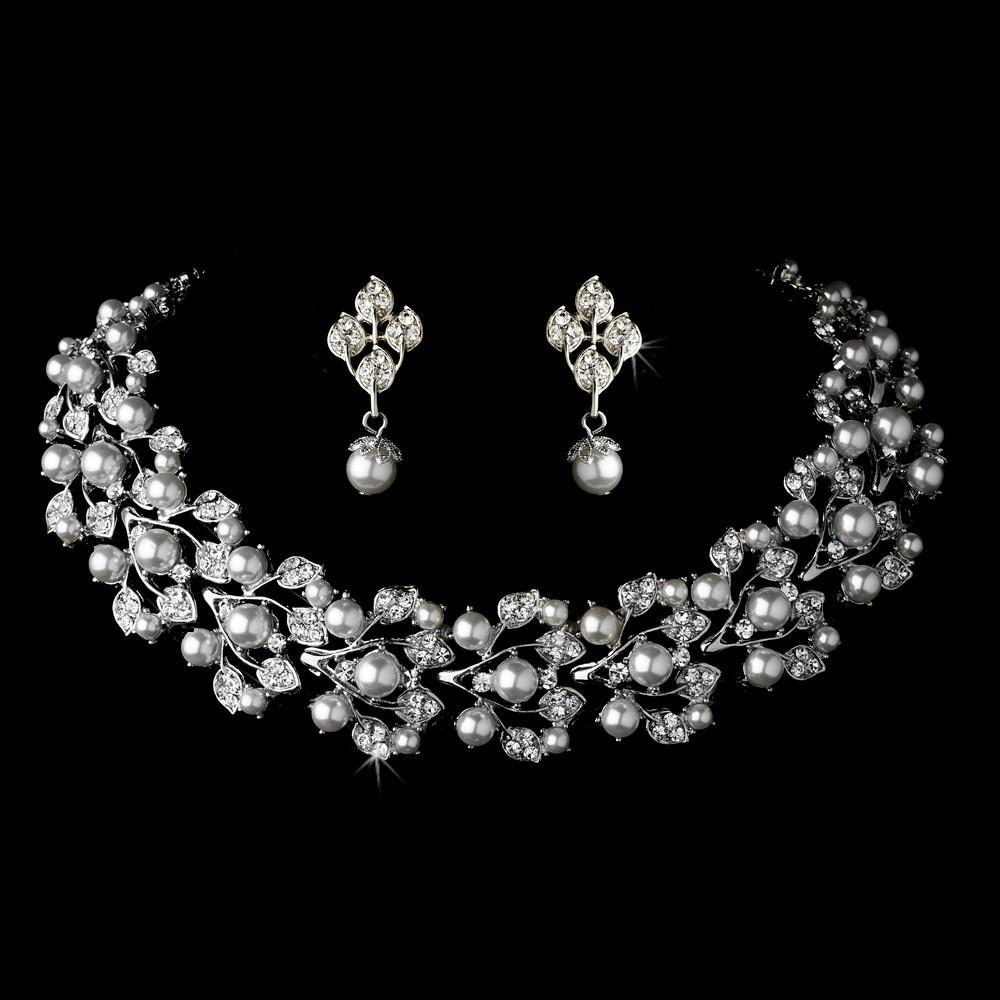 Silver Tone Cream Pearl & Rhinestone Crystal Diamante Jewelry Set